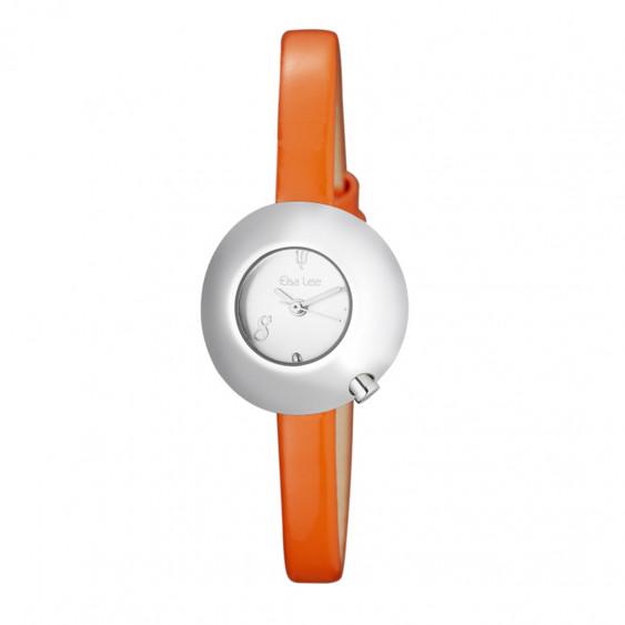 Montre femme cadran blanc boîtier bombé, bracelet cuir orange