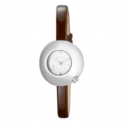 Woman's watch with white dial, domed case and camel leather strap
