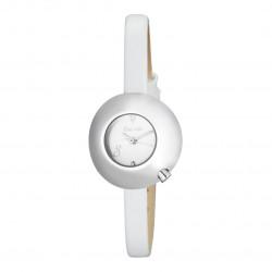Montre femme cadran blanc boîtier bombé, bracelet cuir blanc