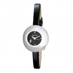 Woman's watch with black dial, domed case and black leather strap