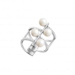 Bague multi-rangs argent rhodié, perles blanches et oxydes de zirconiums