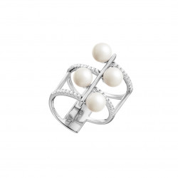 Rhodium coated silver multi-rows ring with white beads, Purity collection