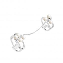 Bague double phalange en argent rhodié et perles blanches