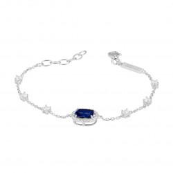 Bracelet en argent rhodié et oxydes de zirconium couleur saphir