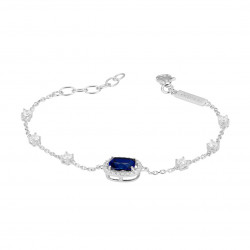 Rhodium silver bracelet and shiny cubics zirconia, Sapphire color