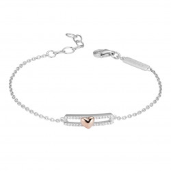 Rhodium silver bracelet and shiny cubics zirconia, little pink heart