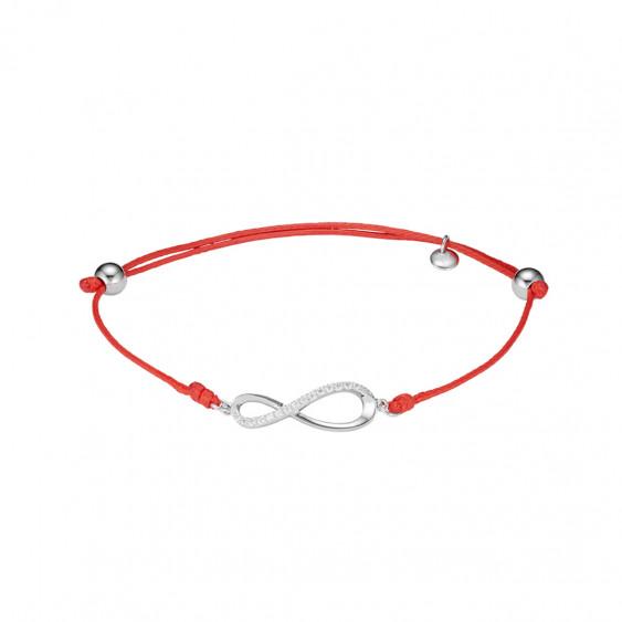 Bracelet Clear Spirit en argent rhodié signe infini sur cordon coton ciré rouge