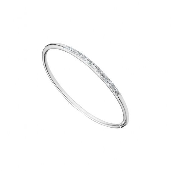 Bracelet rigide Elsa Lee Paris, collection tendance, en argent et oxydes de Zirconium blancs