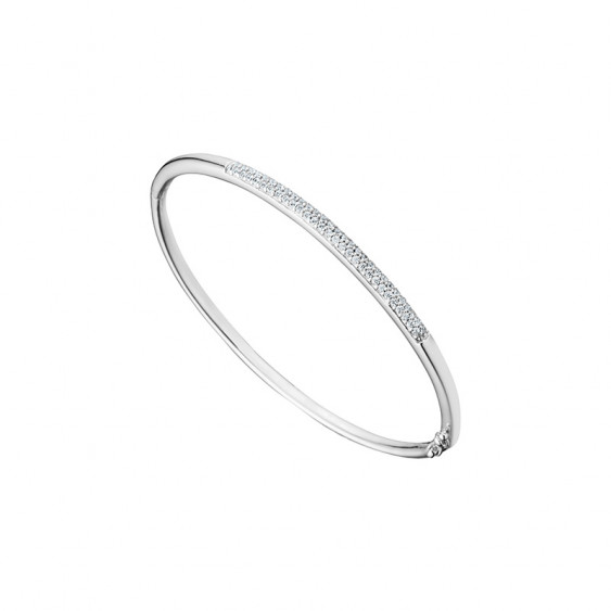 Elsa Lee Paris fine 925 sterling silver bangle with 57 clear Cubic Zirconia