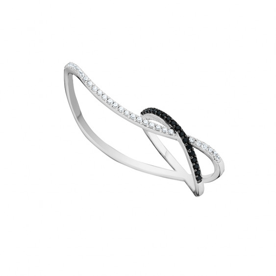 Black and white double ring in 925 silver cross design by Elsa Lee Paris