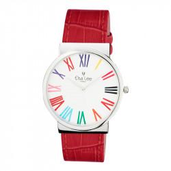 Montre Elsa Lee Paris - Cadran argenté, inscription en chiffres romains multicolor, bracelet cuir rouge