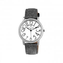 Elsa Lee Paris - Montre Stella cadran acier gris 3ATM chiffre arabe asymétrique et bracelet cuir étincelant noir