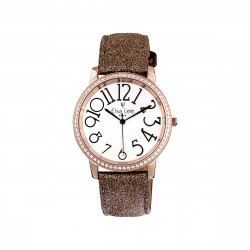 Elsa Lee Paris - Stella watch with Stanley Steel dial case 3ATM and asymmetric numerals, golden brown glittery leather strap