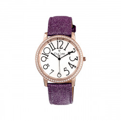 Elsa Lee Paris - Stella watch with Stanley Steel dial case 3ATM and asymmetric numerals,  plum purple glittery leather strap