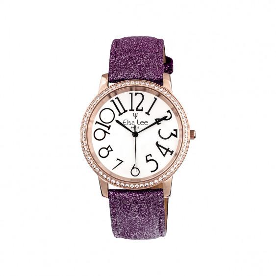 Elsa Lee Paris - Montre Stella cadran acier rosé 3ATM chiffre arabe asymétrique et bracelet cuir étincelant couleur violet prune