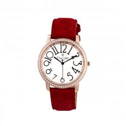Elsa Lee Paris - Montre Stella cadran acier rose 3ATM chiffre arabe asymétrique et bracelet cuir à motif floral rouge