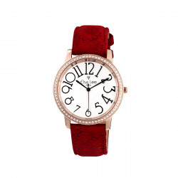 Elsa Lee Paris - Stella watch with Stanley Steel dial case 3ATM and asymmetric numerals, with red velvet pattern leather strap