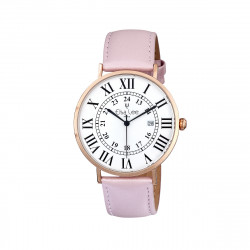 Ladies watch with pink powder leather strap