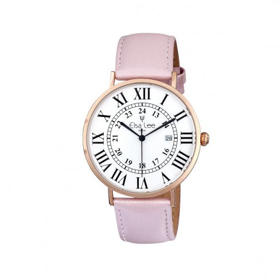 Montre femme bracelet cuir rose poudré