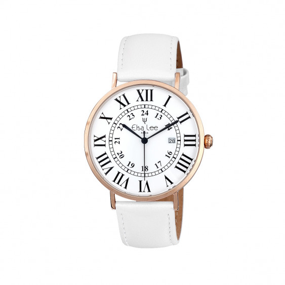 Ladies watch with white leather strap