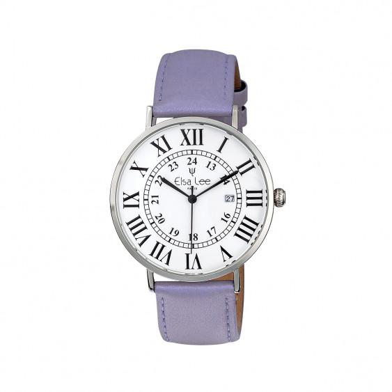 Montre femme bracelet cuir violet