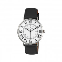 Ladies watch with black leather strap
