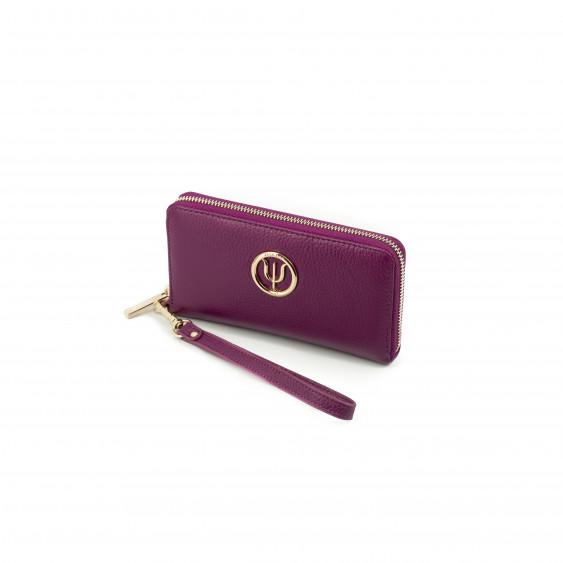 Compagnon Medium Elsa Lee Paris, portefeuille en cuir rose et lanière, logo doré sur le devant