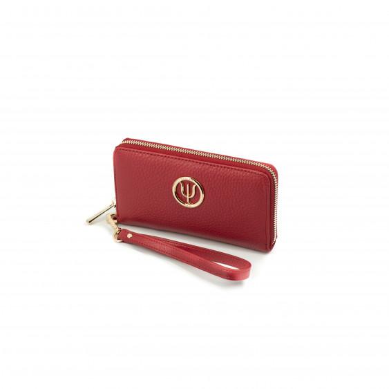 Compagnon Medium Elsa Lee Paris, portefeuille en cuir rouge et lanière, logo doré sur le devant