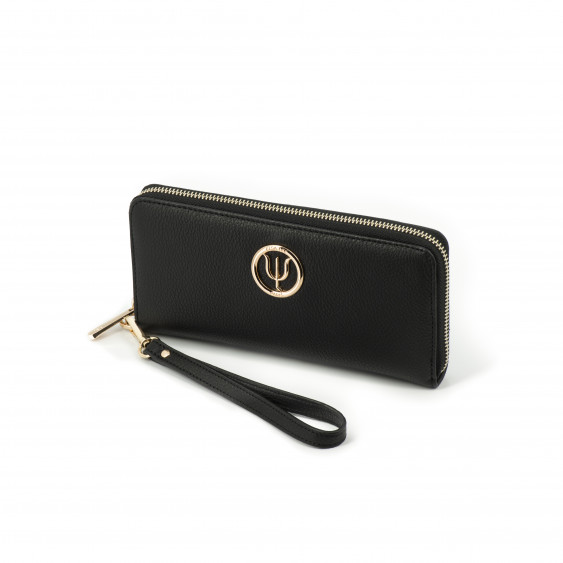 Classic companion by Elsa Lee Paris: black leather wallet with a fabric interior 21x10cm