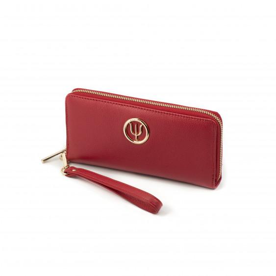 Compagnon Classique, portefeuille Elsa Lee Paris en cuir de veau rouge, multiples rangements, emplacement pour smartphone