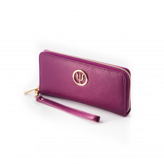 Compagnon Classique, portefeuille Elsa Lee Paris en cuir de veau rose, multiples rangements, emplacement pour smartphone
