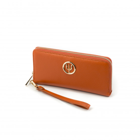 Classic companion by Elsa Lee Paris: orange leather wallet with a fabric interior 21x10cm