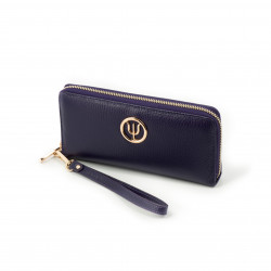 Classic companion by Elsa Lee Paris: purple leather wallet with a fabric interior 21x10cm