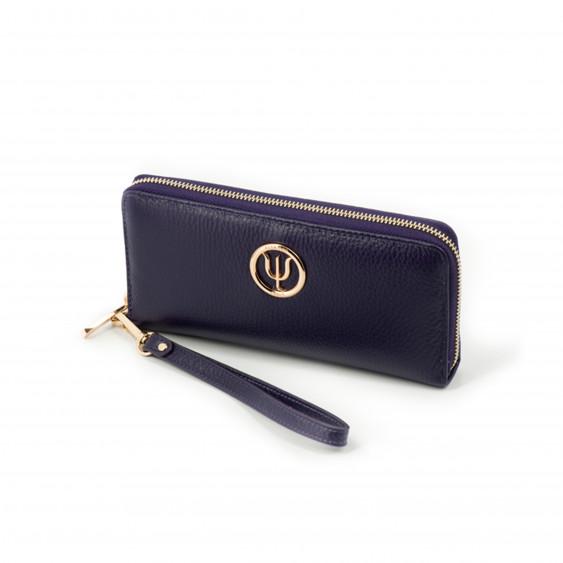 Compagnon Classique, portefeuille Elsa Lee Paris en cuir de veau violet, multiples rangements, emplacement pour smartphone