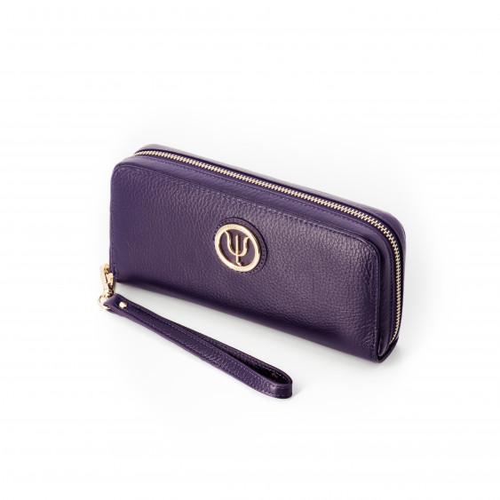 Compagnon large Elsa Lee Paris, portefeuille en cuir violet avec lanière et rangements en accordéon