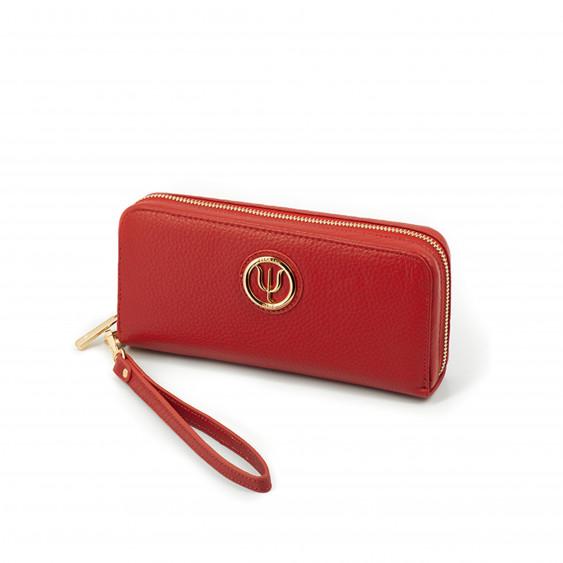 Compagnon large Elsa Lee Paris, portefeuille en cuir rouge avec lanière et rangements en accordéon
