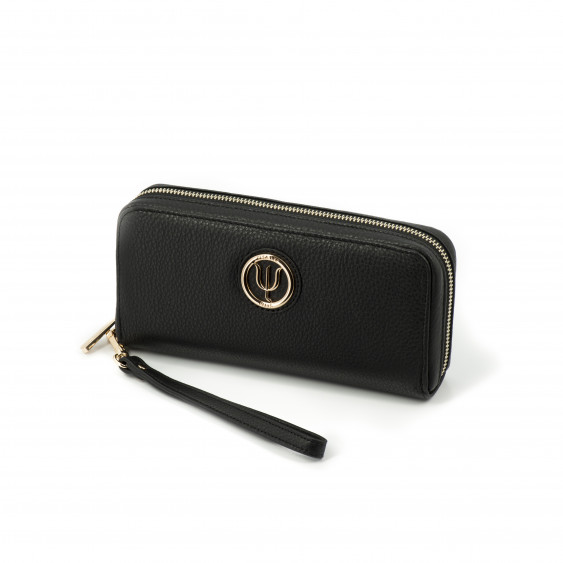 Wide companion by Elsa Lee Paris, black leather wallet and fabric interior 21,5x10cm
