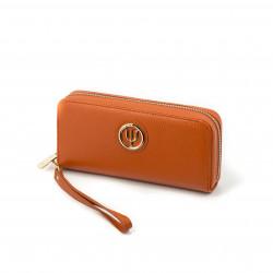 Compagnon large Elsa Lee Paris, portefeuille en cuir orange avec lanière et rangements en accordéon