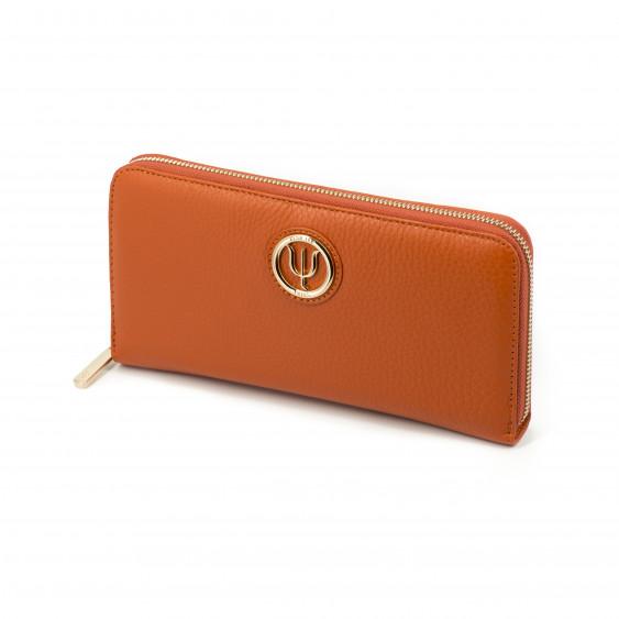 Extra companion by Elsa Lee Paris, orange leather wallet with fabric interior 23,5x12cm