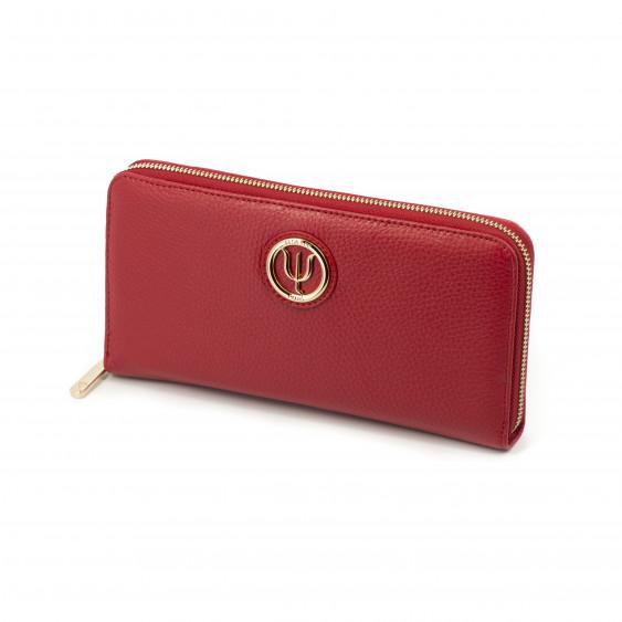 Compagnon Extra Elsa Lee Paris, portefeuille en cuir rouge, multiples rangements pour cartes, billets et pièces de monnaie