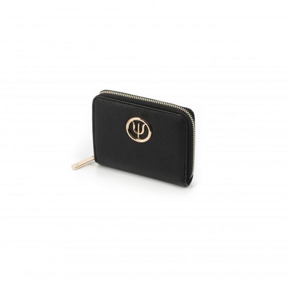 Mini compagnon Elsa Lee Paris, portefeuille zippé en cuir de veau noir et logo doré; dimension 14x11cm