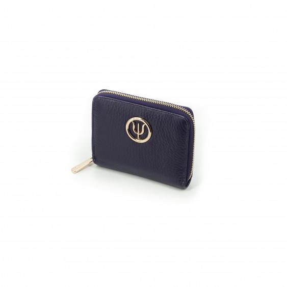 Mini compagnon Elsa Lee Paris, portefeuille zippé en cuir de veau violet et logo doré; dimension 14x11cm