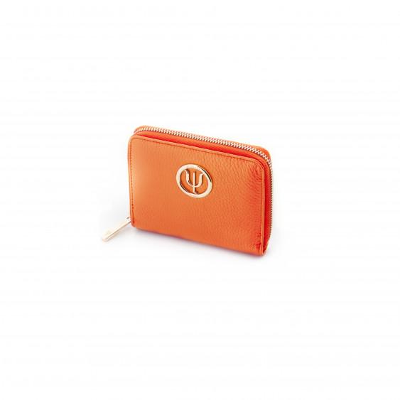 Mini compagnon Elsa Lee Paris, portefeuille zippé en cuir de veau orange et logo doré; dimension 14x11cm