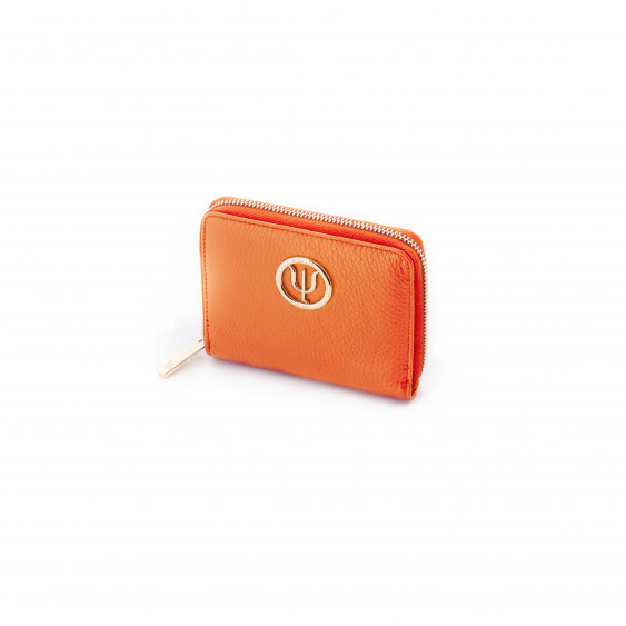 Orange leather wallet from Elsa Lee Paris, mini companion with interior in fabric 14x11cm