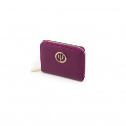 Pink leather wallet from Elsa Lee Paris, mini companion with interior in fabric 14x11cm