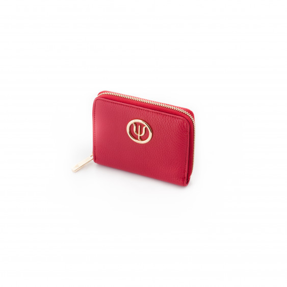 Red leather wallet from Elsa Lee Paris, mini companion with interior in fabric 14x11cm