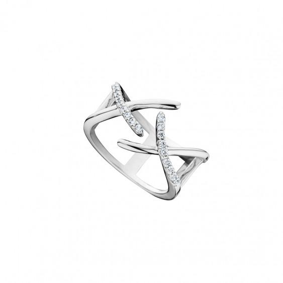 Silver open cross ring in 925 silver by Elsa Lee Paris