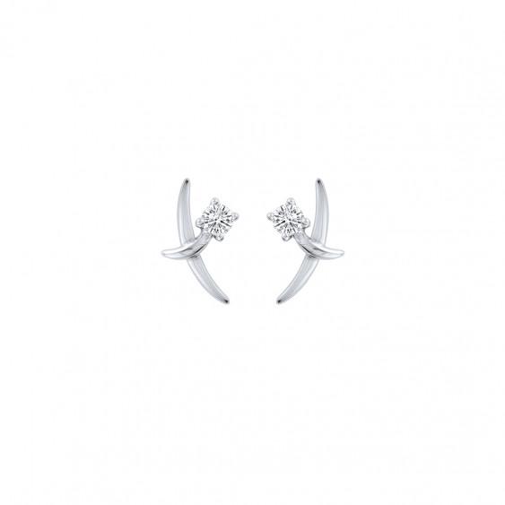 Boucles d'oreilles Union en argent rhodié et zirconiums