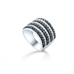 7 rows Black and white silver ring by Elsa Lee