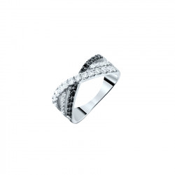 Silver Black and white cross ring by Elsa Lee Paris